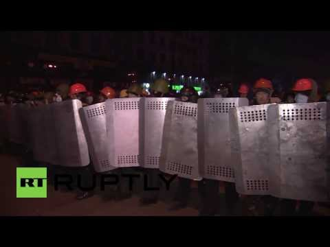 Police block protesters attempts to storm Dynamo Kyiv's stadium