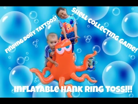 Disney Pixar Finding Dory Hanks Ring Toss Game! Dorys shell collecting game! Tattoos and more fun!