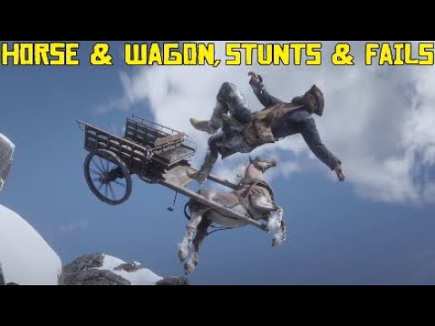 Red Dead Redemption 2 Horse & Wagon, Stunts & Fails, Launches, Funny Moments