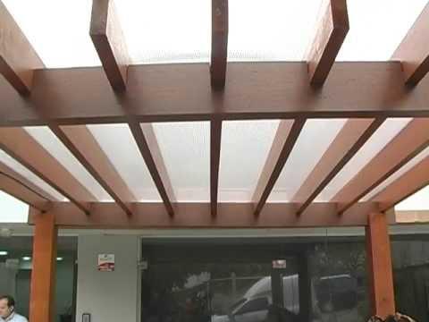 Pergolado de Madeira com Policarbonato -  instalação de Policarbonato em Pergolado de madeira