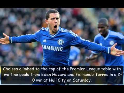 Chelsea top EPL table with 2-0 win over Hull City.