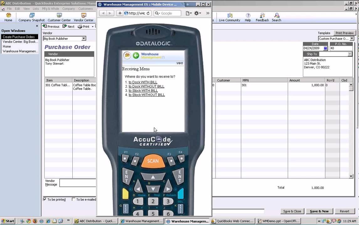 Intuit Warehouse Management Es Demo 2 Receiving Inventory
