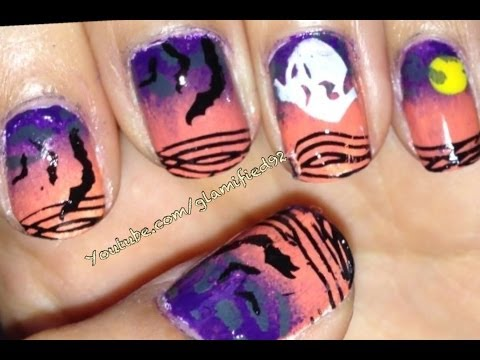 2013 HALLOWEEN NAIL TUTORIAL-Ombre Halloween Ghost Nails