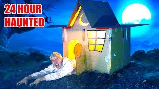 24 HOUR HAUNTED BOX FORT!! 👻 📦