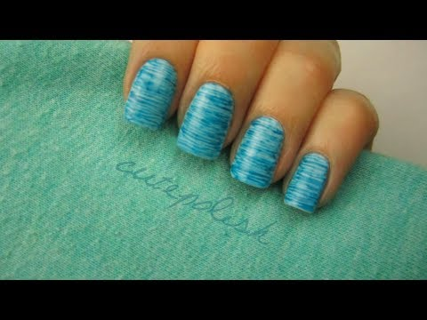 Striped Nail Art (no stripers needed!), READ ME: The thumbnail of this video shows an alternate version of how it looks using a light blue background with medium blue stripes! The same technique wa...