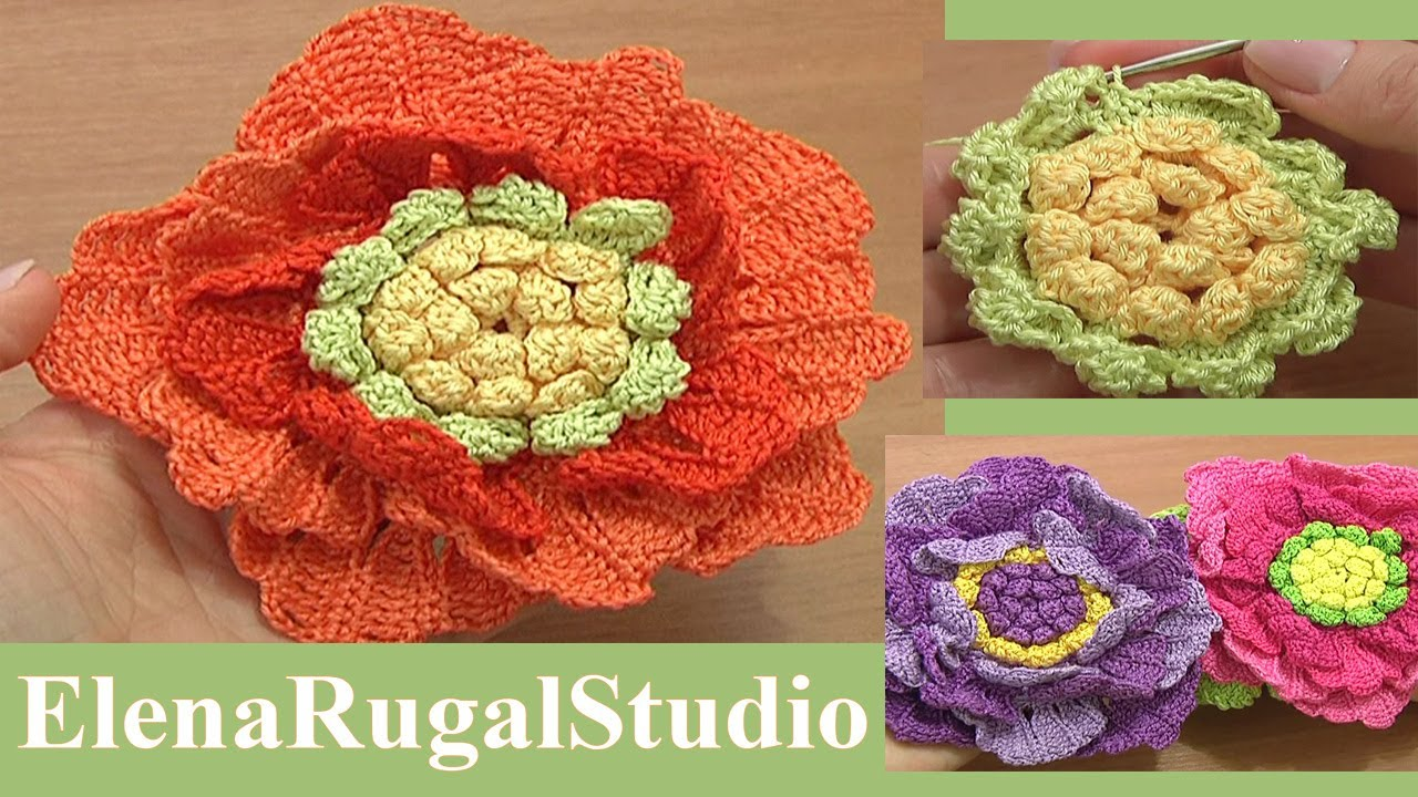 Crocheting In Rows : ... Flower Tutorial 62 Part 2 of 3 Crochet Large Petals In Rows - YouTube
