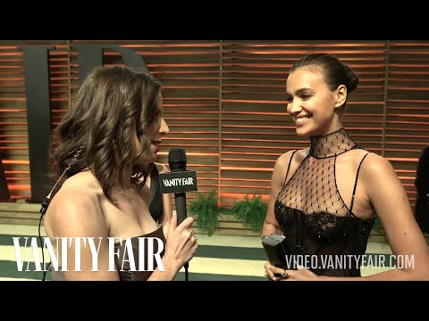 Models Doutzen Kroes and Irina Shayk at the 2014 Vanity Fair Oscar Party-V.F. Academy Awards Party