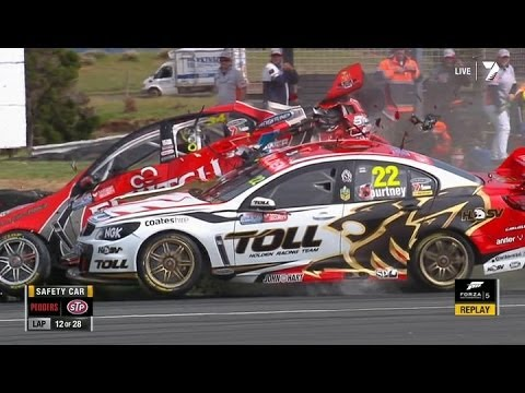 Courtney and Premat Huge Crash @ 2013 V8 Supercars Phillip Island Race