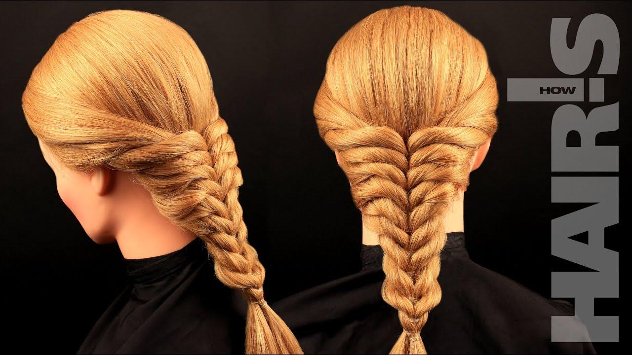Прическа коса из резинок фото
