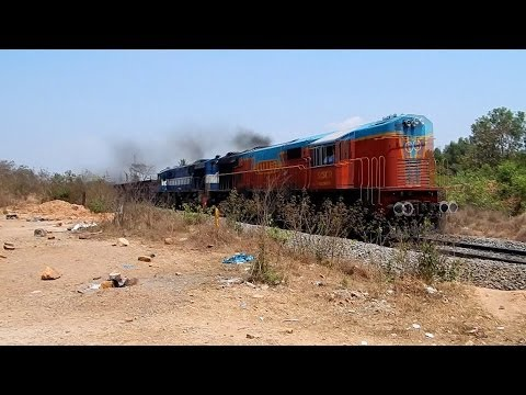 Smoking King Fisher Livery Gooty WDM-3D Twins BOXN Through Kankavli Konkan Railway!!