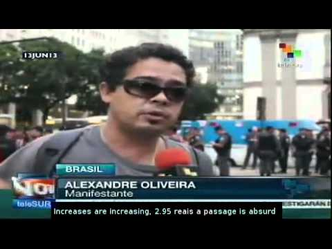 Protest against bus fares ends in confrontation in Rio