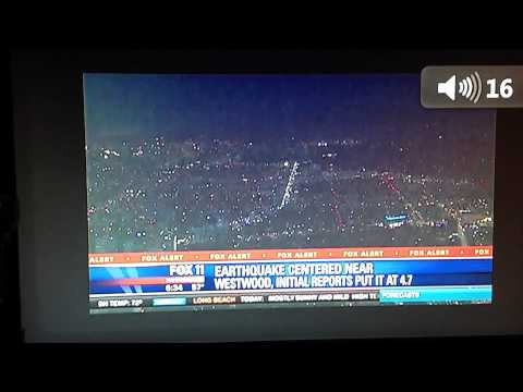 LIVE FOOTAGE on FOX 11-NEWS of UFO SIGHTING DURING 3/17/2014 EARTHQUAKE
