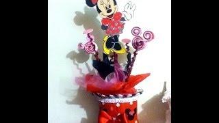 Centro De Mesa Con Pet Reciclaje Mimi Minnie Mouse Fiestas