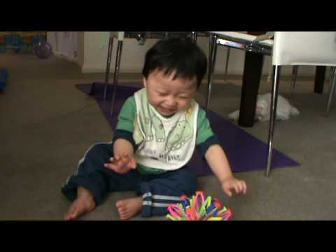 Isaac playing with the funny ball