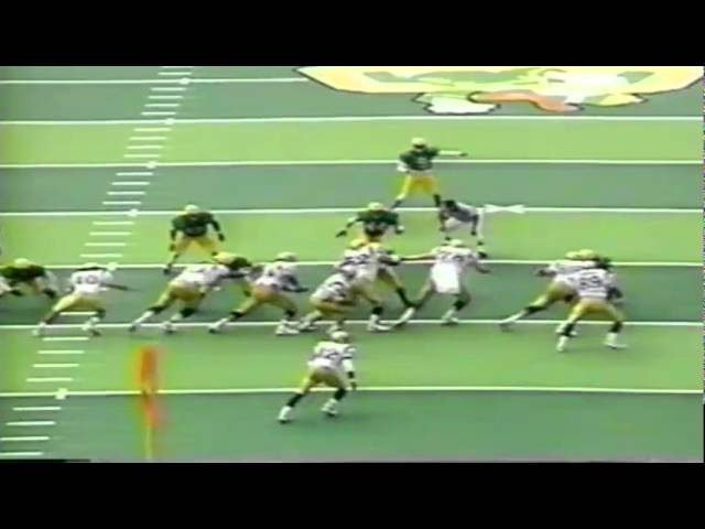 Oregon DT Desmond Byrd stonewalls UCLA RB Skip Hicks for a loss 10-11-1997