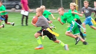 KID SCORES TOUCHDOWN AT FLAG FOOTBALL GAME! 🏈