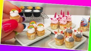 Amazing Mini UNICORN CUPCAKE🦄🦄🍫/real cupcake/Jenny's mini cooking/decorating/handmade/tiny