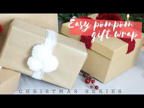CHRISTMAS SERIES: Easy pom-pom gift wrap | Bella Coco