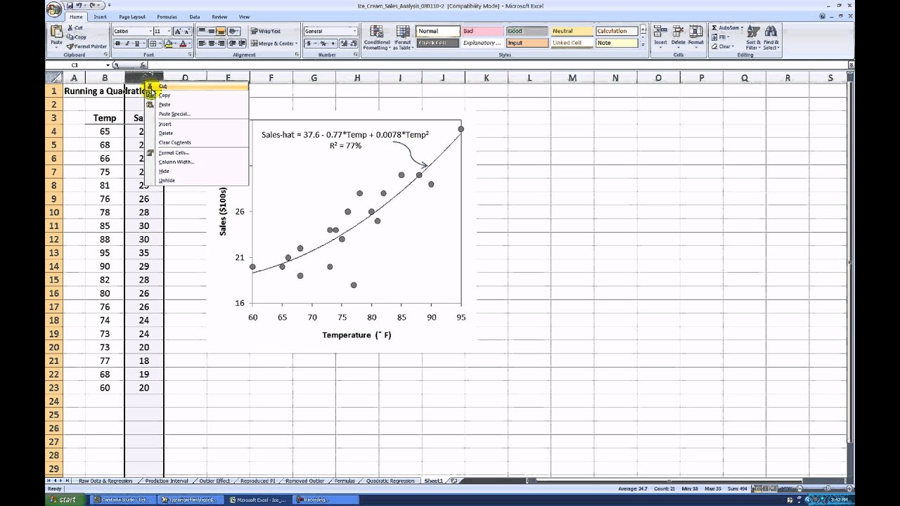 how to run a quadratic regression in ms excel 2007 youtube. Black Bedroom Furniture Sets. Home Design Ideas