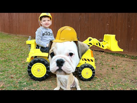 Caleb & Funny Puppy pretend play Outside! Favorite Pet Stories for Kids!