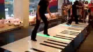 Phantom of the Opera, Bach Duo on a floor keyboard -- AMAZING!!