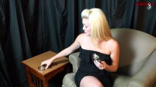 Ashley In KUB-126 Irish 8 Hamburg Handcuffs & KUB-926 Leg