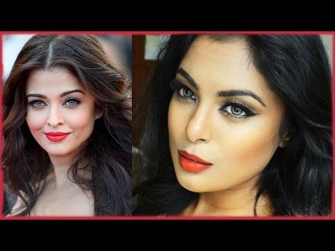 Aishwarya Rai Cannes 2014 Makeup & Hair Tutorial - Bright Red Lips & Bold Eyeliner
