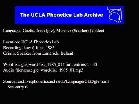 Gaelic, Irish audio: gle_word-list_1985_01