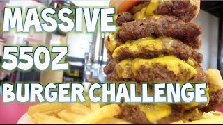 Eating A Massive 55oz Burger, Plate Of Fries And Drink In
