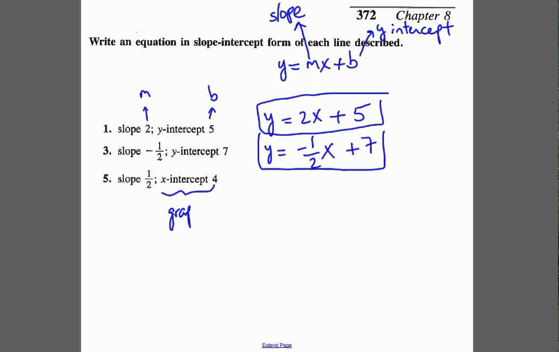 Drawing Lines With Given Intercepts : Write equation of line given the slope and y intercept or