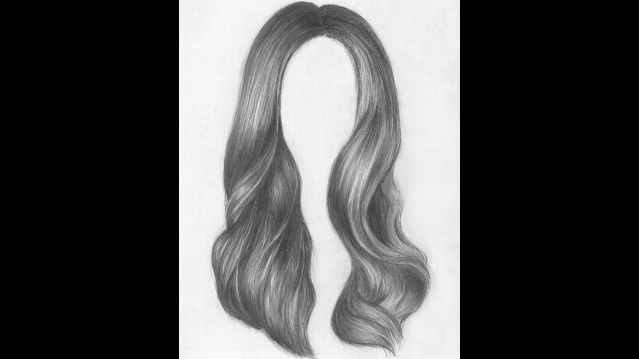 Длинные волосы рисунок карандашами