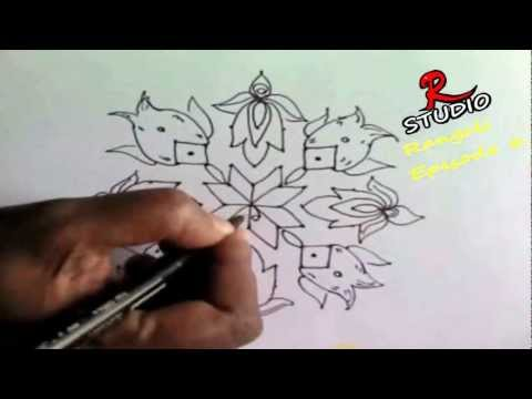 Learn 11x1 dots Rangoli design(Kolam) Episode 6