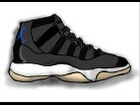 How to draw Air Jordan Space Jam shoes