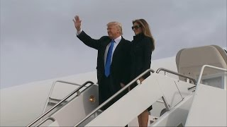 Donald Trump Arrives in Washington on the Eve of the Presi..