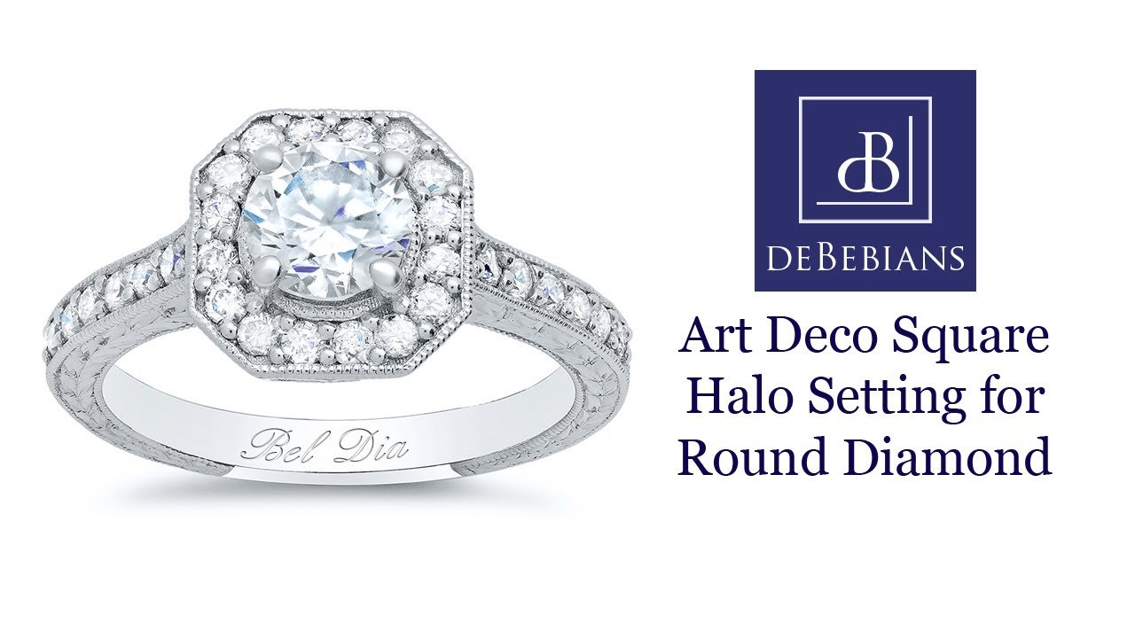 Art Deco Square Halo Setting for Round Diamond