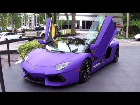 Lamborghini Aventador Matte Purple Supercar Start ap and drive  Miami Lamborghini Prestige Imports