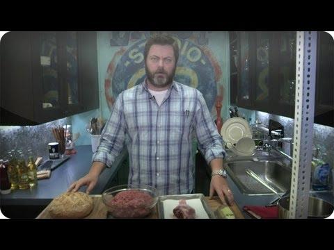 Late Night Eats - Nick Offerman Makes A Ron Swanson Turkey Burger (Late Night with Jimmy Fallon)