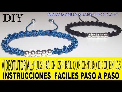 COMO HACER PULSERA CON HILO Y DE CUENTAS DE NUDOS DE MACRAME EN ESPIRAL AJUSTABLE. TUTORIAL DIY