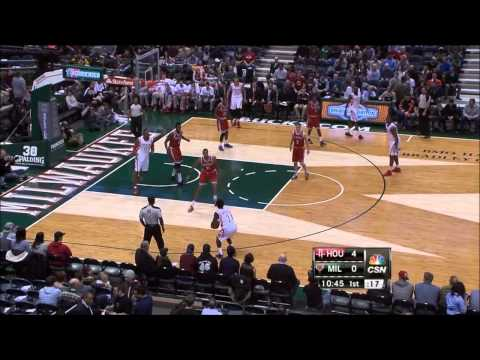 Patrick Beverley blocks John Henson, hits three on the other end