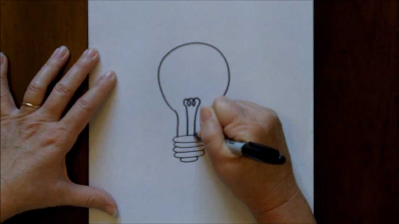 How to draw a lightbulb cartoon easy drawing tutorial for for Easy drawing ideas for beginners