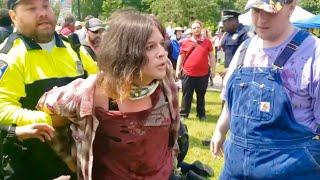 (CRAZY) Antifa VS Cops!!! Violent People Arrested!!! 1st amendment audit!!!
