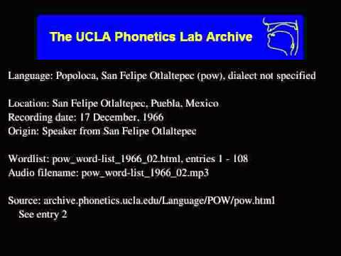 San Felipe Otlaltepec Popoloca audio: pow_word-list_1966_02