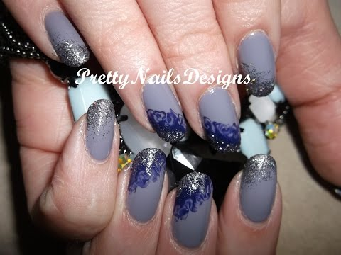 Diagonal Blue&Grey no Water Marbling with Glitter Tops