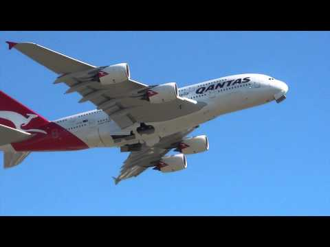 Qantas Airlines A380-800 I takeoff Sydney Int'l Airport HD