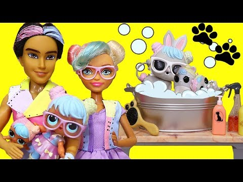 Barbie LOL Families ! The Bon Bon Family Pets Grooming ! Toys and Dolls Fun for Kids with LOL Pets