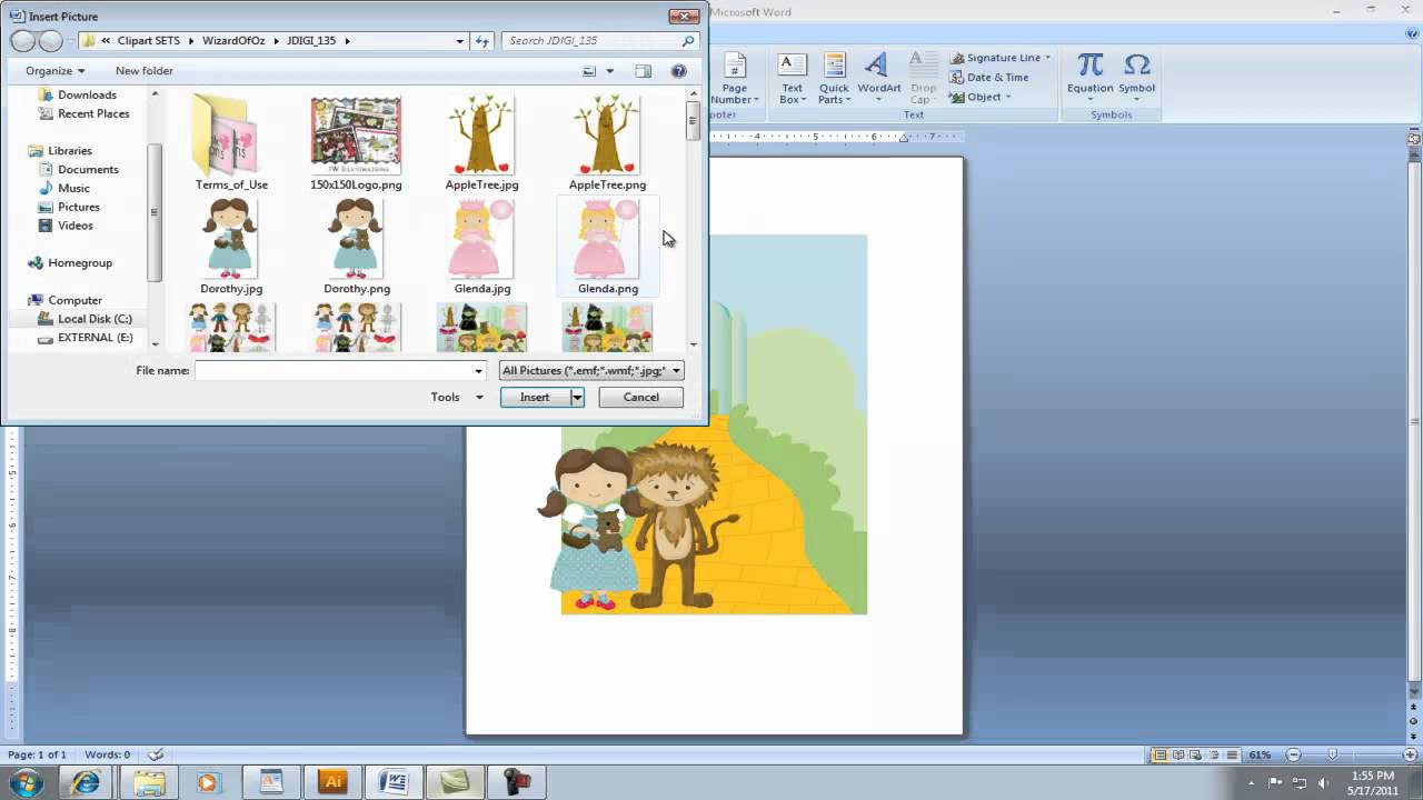 Creating Invita... Word 2007 Clipart Not Working