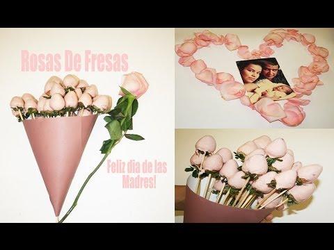 Como hacer rosas con fresas y chocolate♥Para el Día de las Madres