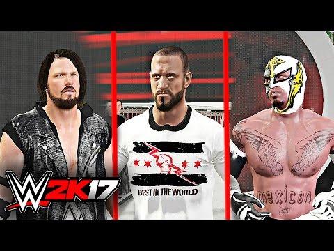 WWE 2K17 - AJ Styles vs CM Punk vs Rey Mysterio Dream Match Triple Threat Gameply W/DAYTIME ARENA