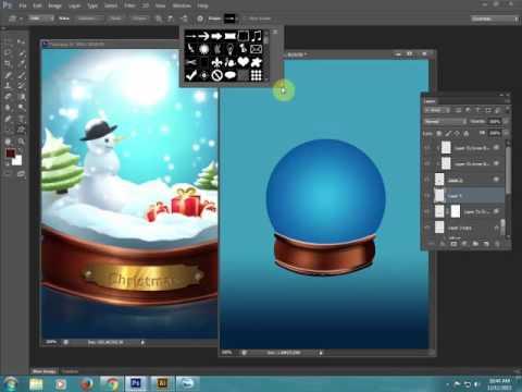Học Photoshop: Vẽ quả cầu tuyết