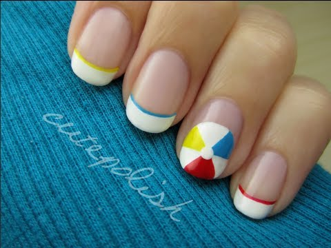 Beach Ball Nail Art, facebook.com/cutepolish twitter.com/cutepolish PRODUCTS USED opi alpine snow red, blue, and yellow stripers! Music: Kevin Macleod